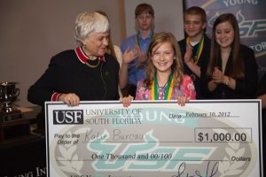Image: USF Vice President Karen Holbrook and 2012 Grand Prize Winner Katie Burcaw