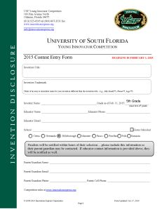 Invention Entry form for 2015