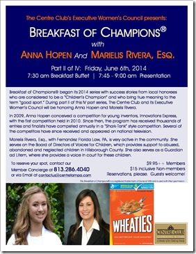 Breakfast of Champions 2014_Anna and Marielis_Flyer