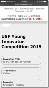 Preview online submission of inventions for USF - on iphone